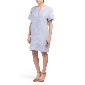 Theory Slit Front Linen Shift Dress - S